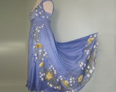 Custom order for Lesley. Hand painted silk dress blue with yellow flowers
