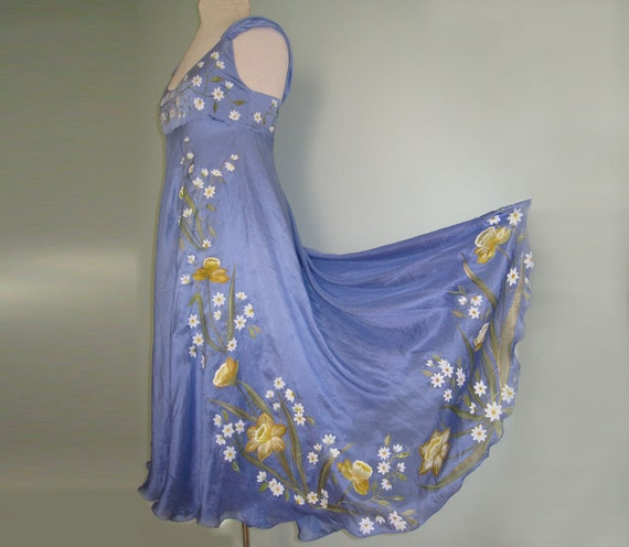 Hand painted blue silk dress daffodils flowers