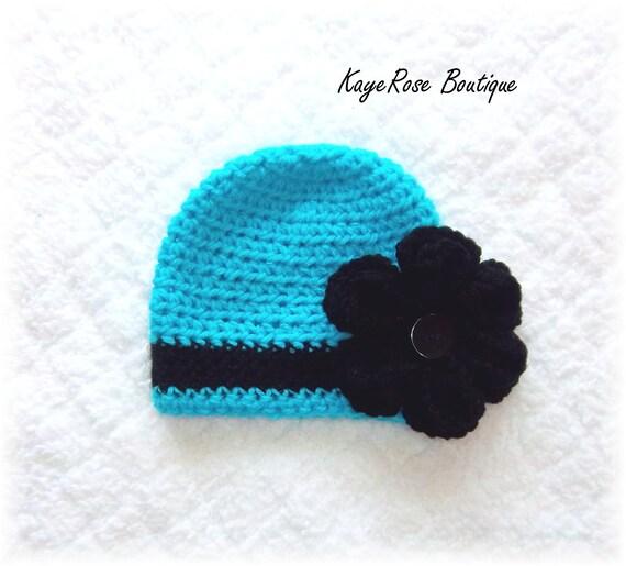 Newborn Baby Girl Crochet Baby Flower Hat Blue Black