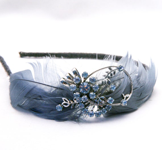 Vintage blue, feather headband with vintage broach, woman hair accessories