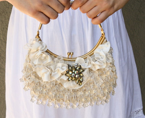 Up-cycled ivory Beaded Vintage Purse, wedding clutch