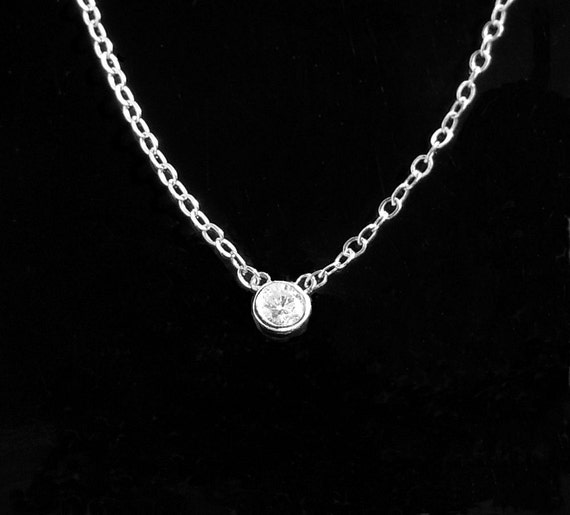 Solitaire Diamond Necklace in 14kt Solid White Gold - Jennifer Lopez Look on Idol