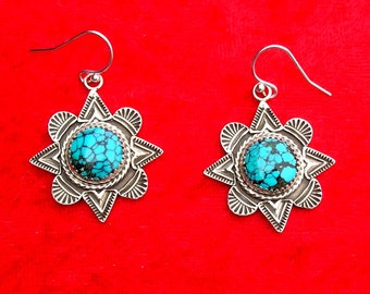 E153 The Mission Window sterling silver with turquoise southwestern style earrings