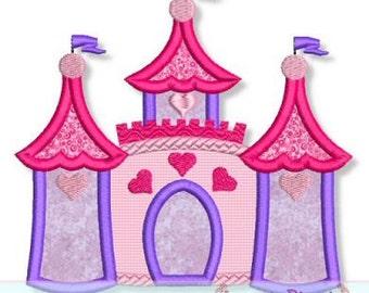 CASTLE 2 Applique 4x4 5x7 6x10 7x11 Machine Embroidery Design princess girl  INSTANT Download