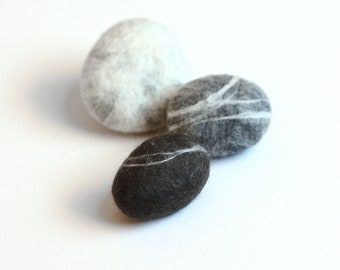 Felted Pebble Brooch - shades of gray