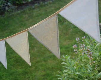 Custom Wedding Banner Decoration in White, Ivory -- Classic Banner Bunting Fabric Flags -- for Summer Picnic, Birthday, Baby Shower, Fete