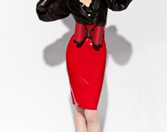 Lady Lucie Latex High waisted pencil skirt with braces (various colours available)