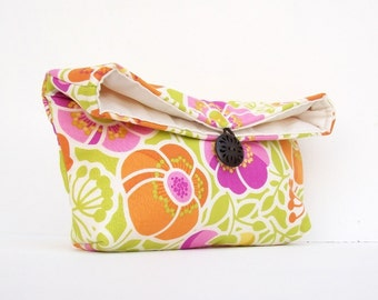 Pink Orange Green Floral Clutch Purse, Starburst, Bridesmaid Gift, Spring Wedding, White, Makeup Bag, Under 25