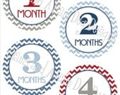 Monthly Patriotic Milestone Stickers- Boys monthly stickers- Baby month stickers- Monthly stickers- Baby shower gift- red blue gray BOY232