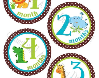 Safari Monthly baby Stickers- Boys monthly Jungle Animal stickers- Baby month sticker- Monthly baby stickers- Baby shower decoration- BOY156