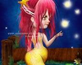 "Mermaid Art Fantasy Fairy Tale Print ""Midsummer Night""  Fine Art 8.5x11 or 8x10 Premium Giclee Print of Original Painting - Pink an Yellow"