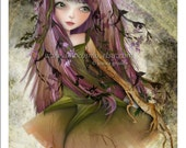 "Woodland Fairy Fantasy Art Print 5x7 ""Roots"" Small Premium Hahnemuhle Giclee Fine Art Print Purple and Green Nature Pixie"