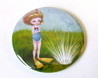 Soaked Pocket Mirror Made From Original Artwork with Organza Bag 2 1/4 inches
