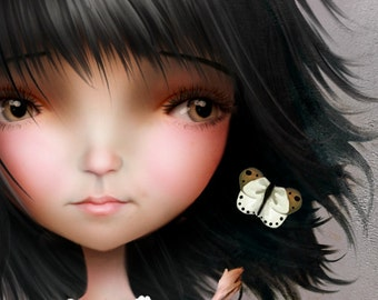 "5x7 Premium Art Print ""Joanna May"" Small Size Giclee Print of Original Artwork - Cute Little Dark Haired Girl"