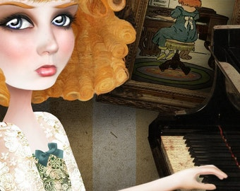 "Redhead Lady Playing Piano Print ""Why Dream"" Fine Art 8.5x11 OR 8x10 Premium Giclee Print of Original Digital collage - Ginger Girl"