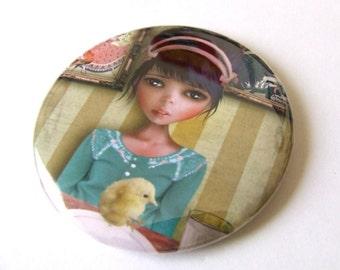 "Pocket Mirror Girl and Baby Chick ""Chicken"" Round 2 1/4"" Illustrated Mirror Featuring Original Jessica Grundy Artwork"