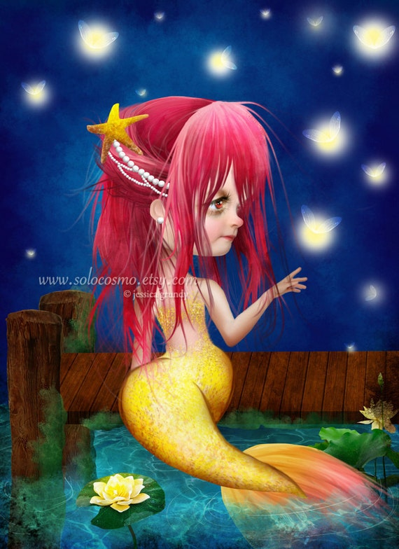 "Mermaid Art Fantasy Fairy Tale Print ""Midsummer Night""  Fine Art 8.5x11 or 8x10 Premium Giclee Print of Original Painting - Pink an Yellow"