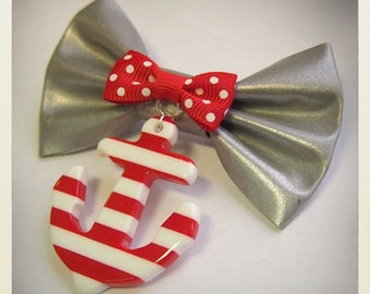 Old School Pin Up- Style Bow reflector brooch with red stripe anchor