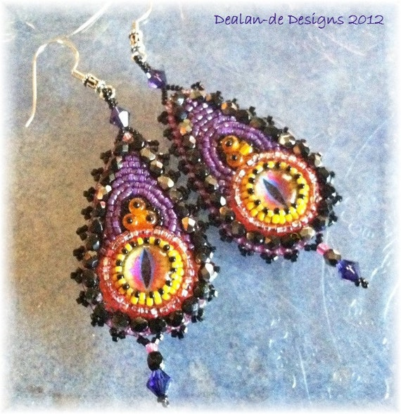 "RESERVED for Terry....There Be Dragons - Bead Embroidered Earrings - EBEG Bead Fest 3 ""Fairytales"""