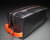 Carbon Fiber Toiletry Kit / Dopp Kit - Black and Orange