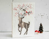 Holiday DEER Original Encaustic Painting RED Berries RED Bird Christmas Snow