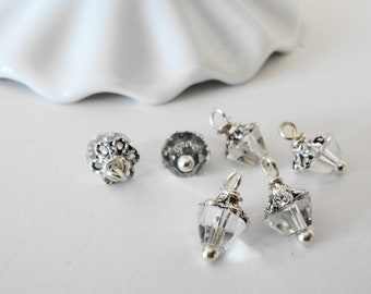 FREE SHIP Petite Silver Crystal  Charms bead glass drops dangles jewelry making  brass bead caps pendants