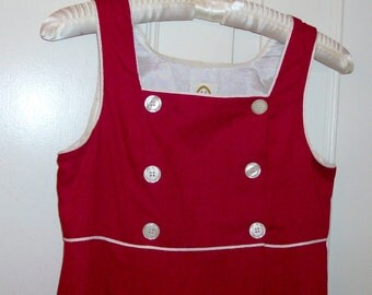 Red Soldier Girl Double-Breasted Dress