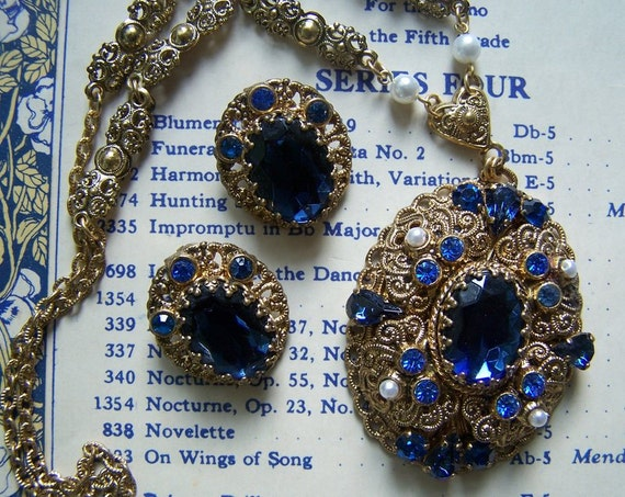 Vintage western Germany filigree necklace earrings blue rhinestone jewel earrings demi