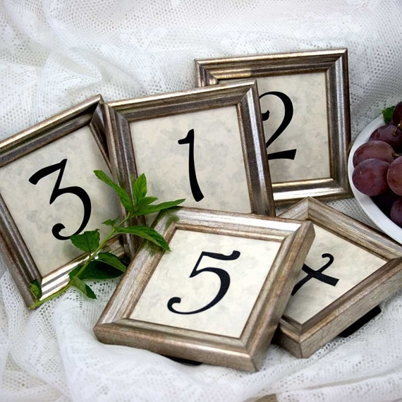 5 Square 3x3 Inch Framed Table Numbers in Simple Silver for Weddings and Events