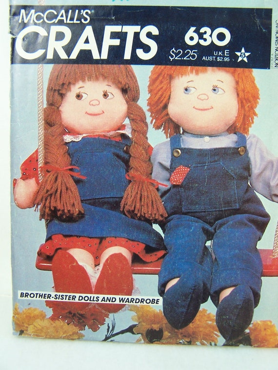 """Vintage McCall's Crafts 630 Sewing Pattern - 22"""" Boy and Girl Pattern,  Doll Clothes, Doll Overalls, Shoes, Nightshirt"""