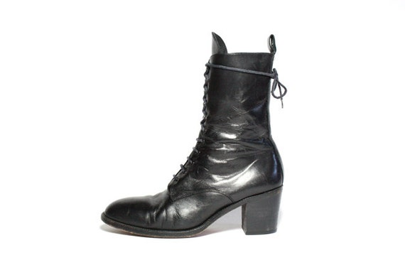 VTG 90's Black Leather Chunk Heel Lace Up Boots 10