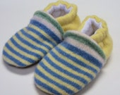Recycled Wool Toddler Slippers, Sunny Stripes sz 18-24m