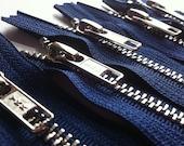 Metal Zippers- 12 inch closed bottom ykk nickel teeth zips- (5) pieces - Navy 919- Number 5s