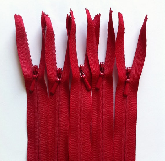 INVISIBLE Zippers 20 Inch YKK Color 519 Red 10 Pieces