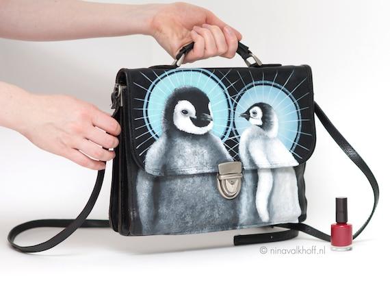 Vintage leather bag 'Sacred pinguins', hand-painted