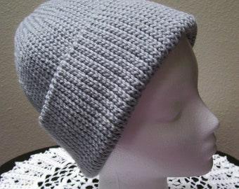 "FREE SHIPPING - Large 20""- 21"" Hand crocheted light gray wool blend Classic Stocking Hat - looks knitted - Pull down over your ears"