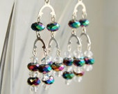 Cascading Peacock Colored n Silver Chandelier Earrings, Dressy Dangle Earrings, Elegant Sparkly Earrings