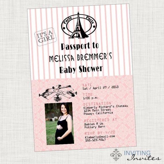 paris passport baby shower shower invitation printable digital file