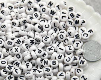 Letter Beads - 7mm Little Round White & Black Alphabet Acrylic or Resin Beads - 400 pc set