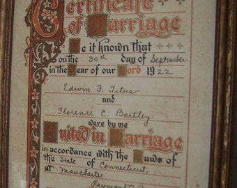 Vintage 1922 Certificate of Marriage-Framed Shabby Wedding Decor-Romantic Nostalgia Wedding Vows-Marriage License-Paper Ephemera