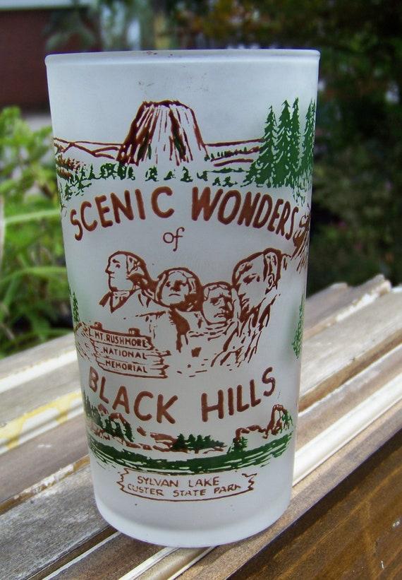 Vintage Frosted  Black Hills, South Dakota Souvenir Glass