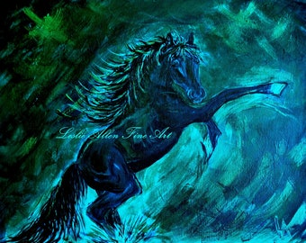 "Horse Art Print Horses Horse Wall Art Stallion Abstract Friesian Friesians Rearing Up  ""Rebel""  Leslie Allen Fine Art"