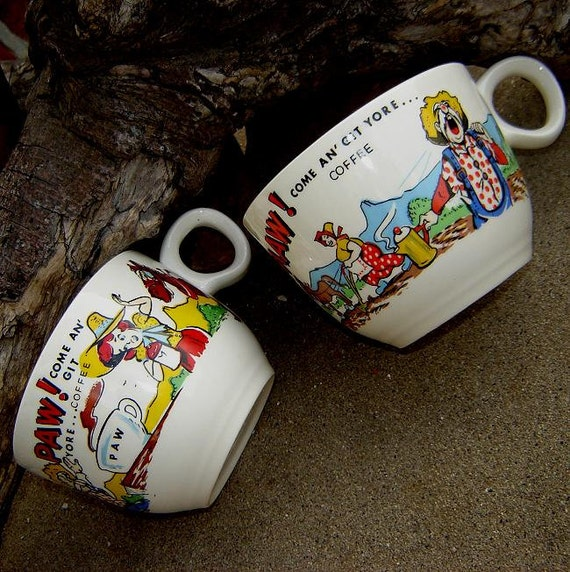 two late 1950's hillbilly coffee cups for Maw and Paw - charity for animals