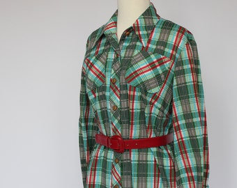 60s / 70s / Button Front Dress / Plaid Seersucker / Medium to Large