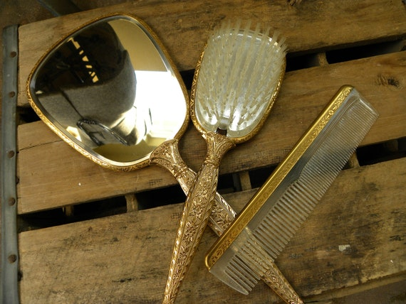 Vintage Mirror, Comb, and Brush Vanity Set