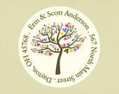 Return address labels, stickers, tags, envelope seals, round-- Summer love tree