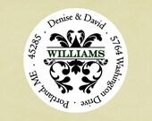Return address labels, stickers, tags, envelope seals, round--Damask name address
