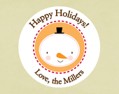 Stickers, address labels, seals, tags, round-- Snowman face