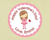Valentine's Stickers, favors, tags, envelope seals, round-- Valentine Girl