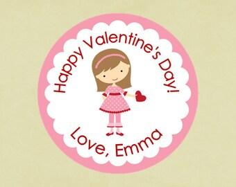 Valentine's Stickers, favors, tags, envelope seals, round-- Valentine Girl